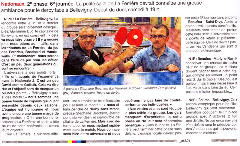 Nationale 3 - DERBY  La Ferriere - Belleville Sur Vie !!